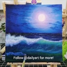 Beautiful Wave Artwork 😍😍 Great art by ID: 811369503 (Döuyin App) Tag your friends below! Canvas Painting Tutorials, Oil Painting Easy, Beginner Canvas Painting Ideas, Painting Ideas For Beginners, Sunset Painting Easy, Night Sky Painting, Painting Techniques, Art Painting Gallery, Acrylic Art