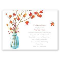 autumn arrangement wedding invitation