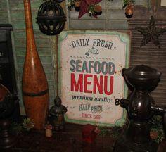 Primitive Vtg Style Dealer Retro Americana Fresh Sea Food Shop Wood Sign #NaivePrimitive