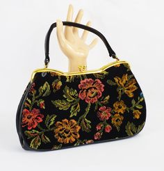 1950s Handbag Floral Needlepoint Purse