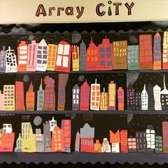 "Multiplication introduction with ""Array City"" project Fourth Grade Math, Second Grade Math, Eighth Grade, Math Resources, Math Activities, Math Games, Math Multiplication, Math Bulletin Boards, Art Rooms"