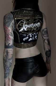 This item is ONE OF A KIND and once its gone, its gone for good!    Girls #Venom vest. Made from scratch with a t shirt and black bull denim. Design #metalhead