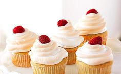 Raspberry liqueur (or juice) brings the fruity flavor to these tasty cupcakes.