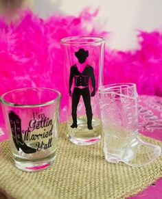 Shot Glasses for a Country Western Bachelorette Party, Southern Engagement Party or Cowgirl Bridal Shower!