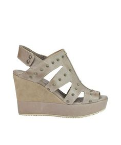 CAR SHOE CAR SHOE WOMEN'S  GREY LEATHER WEDGES. #carshoe #shoes #
