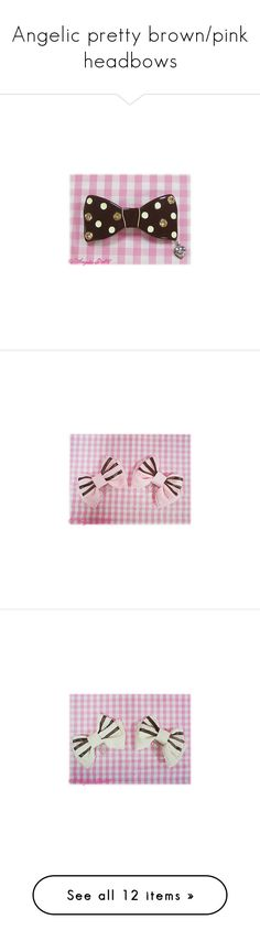 """Angelic pretty brown/pink headbows"" by donutgrl ❤ liked on Polyvore featuring accessories, hair accessories, hair clip accessories, ribbon hair clips, barrette hair clip, pearl hair accessories, pearl hair clip, pearl barrette hair clip, lolita and angelic pretty"