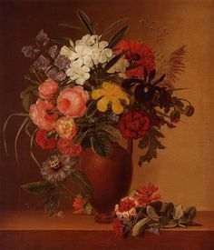 Johan Jensen - Still Life with Flowers in an Earthenware Vase, 1836 - oil on canvas (Private collection)