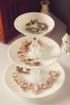 Plate and candle stick jewellery holder