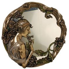 Ideas art nouveau mirror antiques for 2019 Muebles Estilo Art Nouveau, Muebles Art Deco, Art Deco Spiegel, Style Floral, Jugendstil Design, Art Deco Mirror, Mirror Mirror, Art Nouveau Furniture, Vintage Mirrors