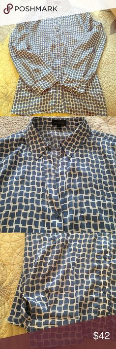 Silk Blue & White Button Down Silk-polyester material, blue and white patterned button-down from The Limited. Never worn! Perfect for the office!! The Limited Tops Button Down Shirts
