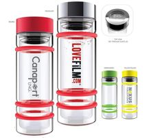 Bumper Bottles are dishwasher safe and BPA free. Eco Friendly with no aftertaste. Beverage stays cold or hot. Features see through glass lid and 3  silicone ring bands as mini shock absorbers, helps protect the bottle! Tea infuser included.  [ XLXPD-IFNSS ]   75pcs @ $16.49  1 color;1 location.  Contact dan.dour@dbincorporated.com for details