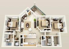 The Aspen floor plan for Hidden Oak Apartments