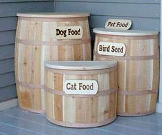 Pet Food storage ... love this idea. It could sit outside the kitchen door for easy access and leave more room inside.