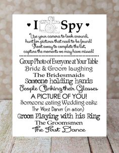 I Spy Wedding Game, Instant Download Diy Printable, Photo Challenge. Keepsake…