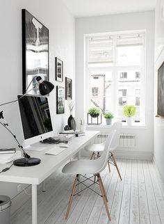 Arbeitszimmer Inspiration für kleine Räume - Workspace Inspiration White in White and of course Mac ;-)