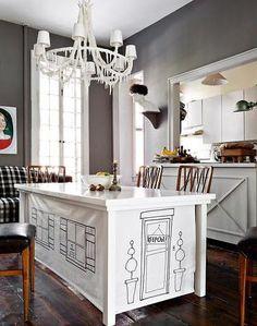 Gray + white dining room: Benjamin Moore 'Iron Gate' by xJavierx, via Flickr