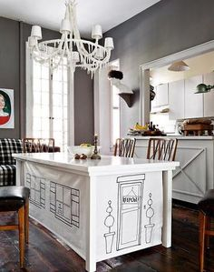 Gray + white dining room: Benjamin Moore 'Iron Gate'