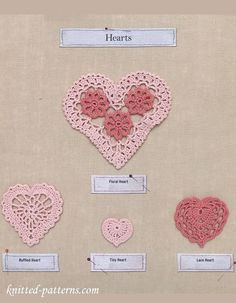 Hearts Crochet Pattern - free over at Knitted Patterns