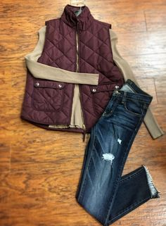 ///FALL Arrivals🍂☕️😻///Over the moon for this MAROON vest and beige long sleeve SHIRT✨ ::::Pair with distressed denim and fringe booties; plaid styled scarf and long necklace •Vest {$49} •Long Sleeve Shirt {$35}  •Distressed Denim {$87# #apricotlanefargo #apricotlane #fargo #northdakota #minnesota #mn #moorhead #vest #falltrends #trends #boutique #fallloves #distresseddenim #denimeveryday  . . . For immediate assistance call  ☎️701-356-5080 (We Ship 📦