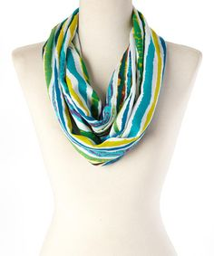 Another great find on #zulily! Blue & Green Watercolor Infinity Scarf #zulilyfinds