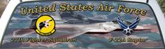 United States Air Force 27th Fighter Squadron Rear Window Graphic Mural.