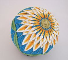 White Chrysanthemum Japanese Temari Ball by ZinaDesignJewelry, $50.00