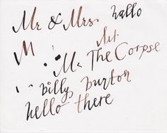 Showing Helena Bonham Carter how to use my calligraphy pen (circa 2005). I can't believe this still exists!