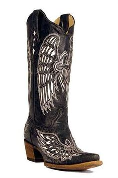 Corral Black Bone and White Wing and Cross Women's Cowgirl Boots