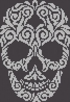 Alpha friendship bracelet pattern added by skull swirl filligree abstract. skull cross stitch or crochet chart türk - The Crocheting Place Picture outcome for cranium crochet diagram a knit and crochet community Zuckerschädel x-Stich , Filet Crochet Charts, Crochet Diagram, Knitting Charts, Cross Stitch Charts, Cross Stitch Designs, Cross Stitch Patterns, Alpha Patterns, Loom Patterns, Crochet Patterns