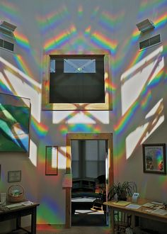 Light is refracted through plastic panels to create rainbow patterns inside the CoHo Ecovillage Commons House. Peter Erskine created the piece called … – Rainbow Rainbow Prism, Rainbow Light, Over The Rainbow, Rainbow House, Rainbow Heart, Rainbow Unicorn, Living Colors, Rainbow Aesthetic, Solar Installation