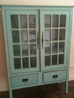 Elegant Armoire With Glass Front Doors   Paint In A Creamy White Instead.