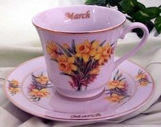 Flower of the Month Teacup - March - Roses And Teacups China Tea Sets, Vintage Bathrooms, Tea Cup Saucer, High Tea, Tea Time, Coffee Time, Coffee Cups, Tea Party, Teacups