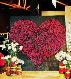 Make a string heart Flower Arrangement Designs, Flower Arrangements, String Art, Easter Crafts, Free Gifts, Valentines Day, Diy Crafts, Christmas Ornaments, Create