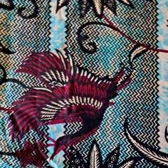 Tissu africain wax coton  imprimé batik bleu, noir, prune, blanc