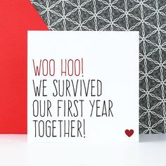 Are you interested in our First anniversary card? With our Funny anniversary card for him you need look no further. First Wedding Anniversary Quotes, First Year Anniversary Gifts For Him, Anniversary Quotes For Boyfriend, Anniversary Quotes For Him, Funny Anniversary Cards, 1 Year Anniversary, Birthday Gifts For Boyfriend, Boyfriend Quotes, Boyfriend Gifts