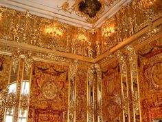 Amber room of the Catherine Palace.   Russia