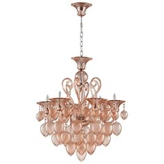Limited Production Design & Stock: Grand Blush Rose 8 Light Glass Chandelier  * H: 36 x Dia: 35 inches