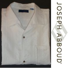 JOSEPH ABBOUD Short Sleeve Men's Shirt 3XLT Big Tall Button Down WHITE VNeck $90 #JOSEPHABBOUDJeans