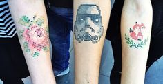 cross stitch tattoos by Eva Krbdk