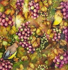 Autumn harvest.. 🍁🍇😊 #rhapsodyintheforest #egusakanoko #fabercastellpolychromos #prismacolor #triplusfineliner
