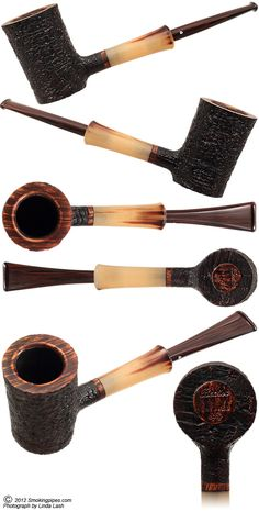 Becker Tobacco Pipes: Sandblasted Poker with Horn Ferrule (Two Clubs)
