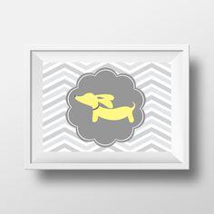 Artwork | Yellow & Gray Dachshund Prints