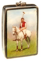 An Edwardian silver  and enamel vesta case