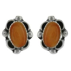 Sterling Silver Spiny Oyster Flower Post Earrings - Fire & Ice