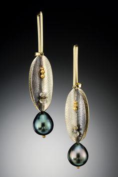 C. H. Mackellar | Studio Jewelry | Narrow leaf earrings