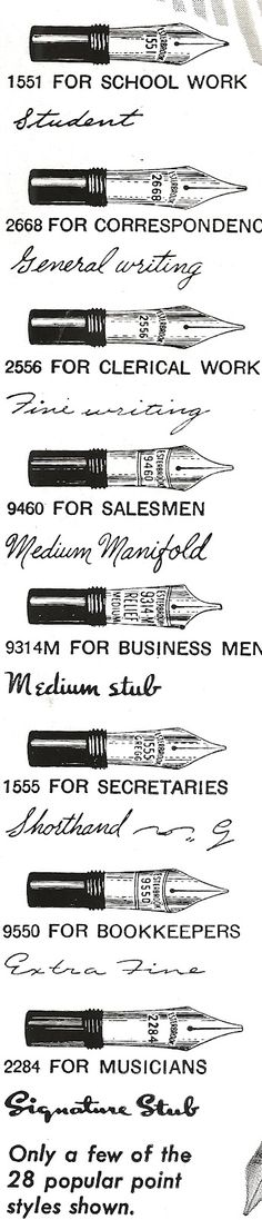 I had no idea there were different widths of fountain pen tips!