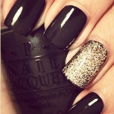 black nails w/gold glitter nail