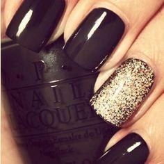 black nails w/gold glitter nail