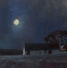 'November Moon' 12x12 Oil on Canvas by Canadian Landscape Painter David Sharpe