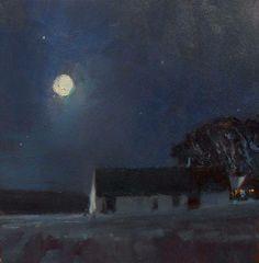 'November Moon' 12x12 Oil on Canvas by David Sharpe